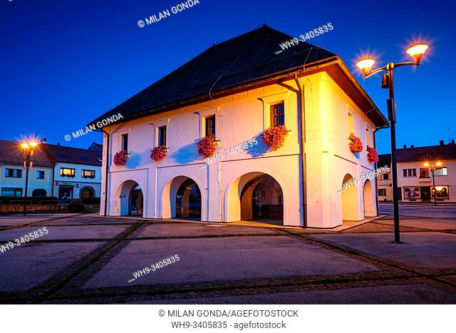 Historical town hall in the main square of Rajec, Slovakia