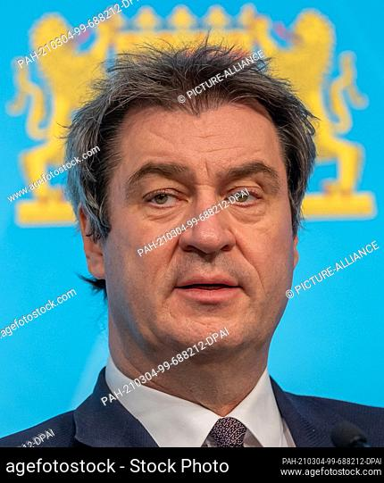 04 March 2021, Bavaria, Munich: Markus Söder (CSU), Prime Minister of Bavaria, attends a press conference after the Bavarian cabinet meeting