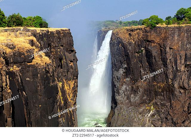 Landscape photo looking into the Victoria Falls gorge on a clear summer day. Victoria Falls, Zimbabwe and Zambia