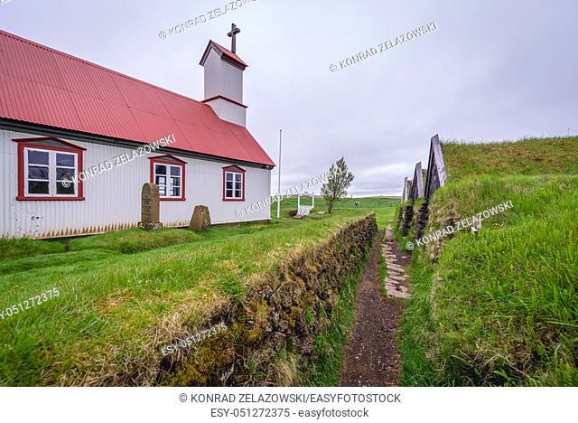 Church in Keldur Turf House museum in south part of Iceland