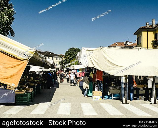Market in the square in Verbania, Lake Maggiore, Piedmont, Italy