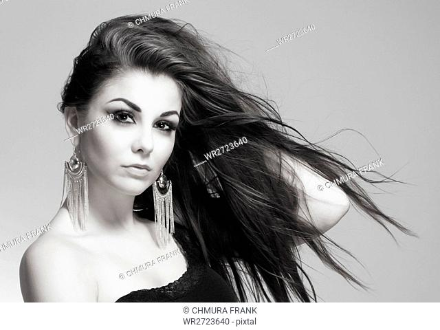 attractive, background, beautiful, beauty, brunette, Caucasian, eyes, face, fashion, female, girl, hair, hairstyle, isolated, looking, make-up, makeup, model