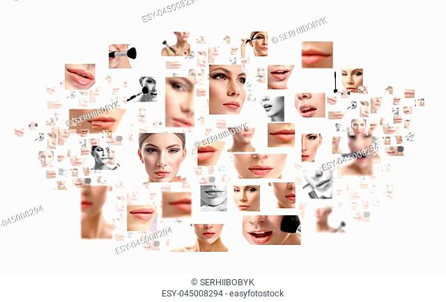 Natural stunner. Composite shot of many pictures of female face and facial parts isolated on white copyspace beauty fashion cosmetology spa skincare healthy...