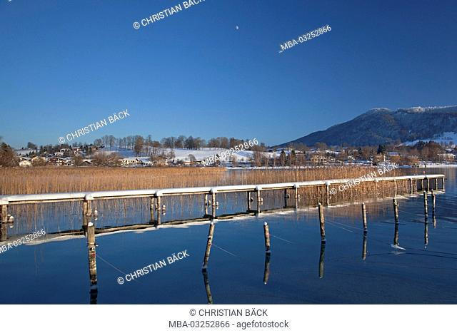 Bridge at the lake Tegernsee, Gmund in the Tegernsee, Tegernsee valley, Upper Bavaria, Bavarians, South Germany, Germany