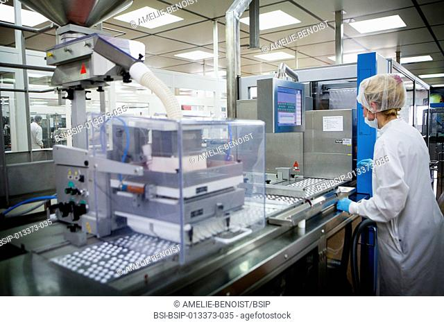 Reportage in a pharmaceutical production facility in Reims, France. Production facility specialising in the packaging and distribution of pills