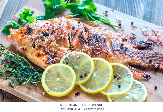 Grilled Tilapia with herbs on the wooden board