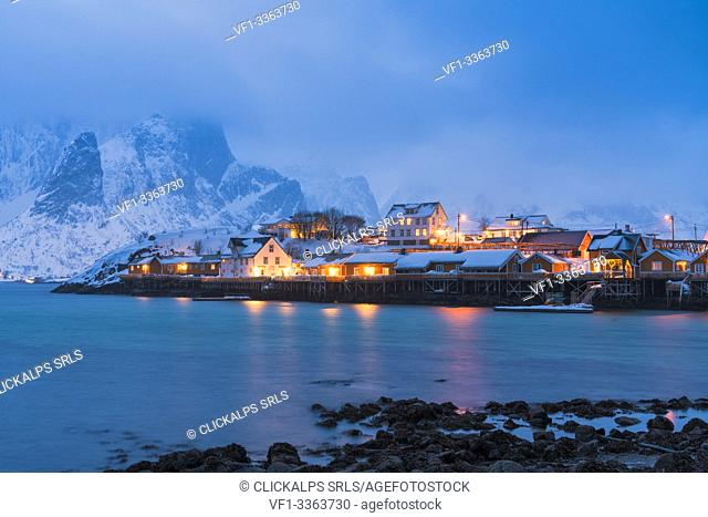 Fishing village of Sakrisoy at dusk, Reine, Nordland, Lofoten Islands, Norway