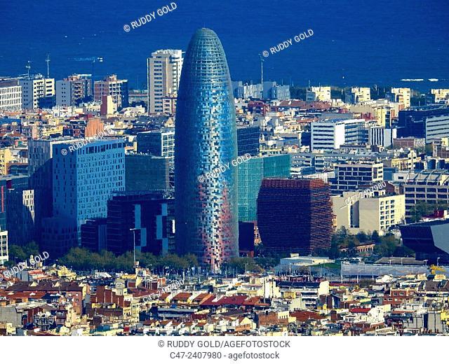 Agbar tower. Barcelona, Catalonia, Spain