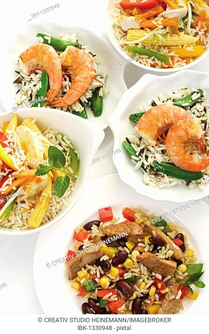 Several rice dishes, beef, corn, peppers, bean sprouts, kidney beans, shrimps, prawns, peas, beans, corn, baby corn, chicken, carrots, vegetables