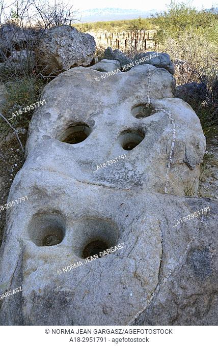 Grinding stones, or manos, metates, at Mendoza Canyon, Coyote Mountains Wilderness Area, Sonoran Desert, Arizona, USA