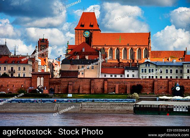 City of Torun cityscape in Poland, Old Town skyline with Cathedral of St. John the Baptist and St. John the Evangelist