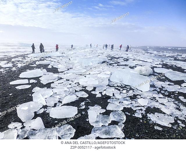 Diamond beach with icebergs at the Glacier lagoon of Jokulsarlon, Iceland