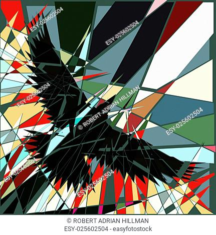 Abstract editable vector shattered design of a bird flying
