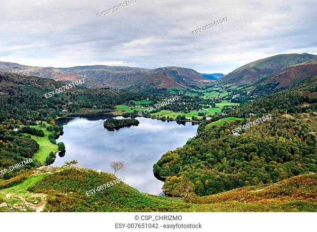 Aerial view of Grasmere & dunmail Raise