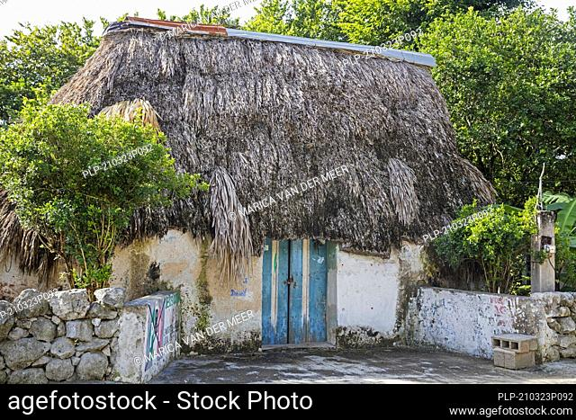 Traditional thatched house / hut with palapa roof of indigenous Maya Indians on the countryside near Mérida, Yucatán, Mexico