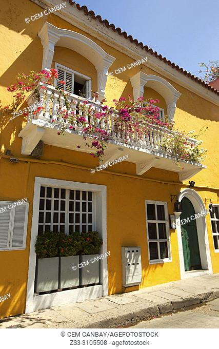 Colonial buildings and balconies covered with bougainvilleas at the historic center, Cartagena de Indias, Bolivar Region, Colombia, South America
