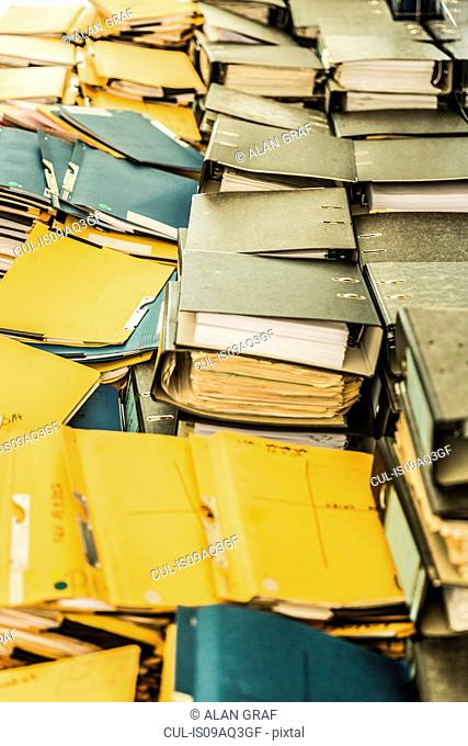 Rows of paper files