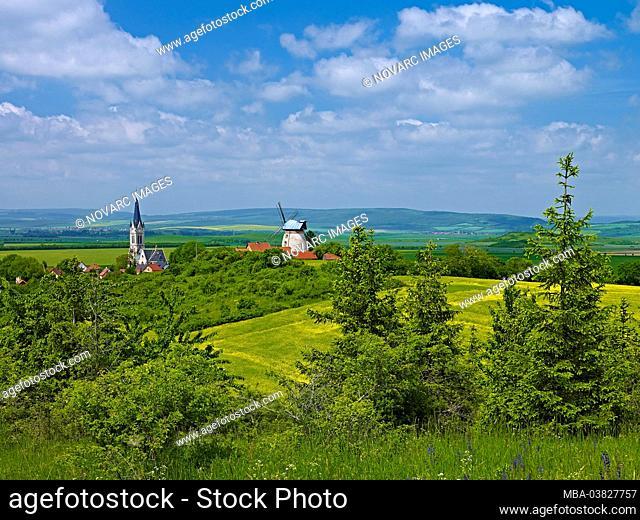 """Church and windmill Altenbeichlingen, Landkreis S""""mmerda, Thuringia, Germany"""