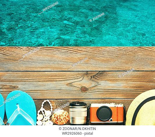 Beach items at jetty