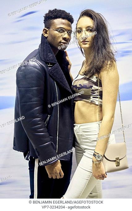 young fashionable couple, celebrity, in Munich, Germany