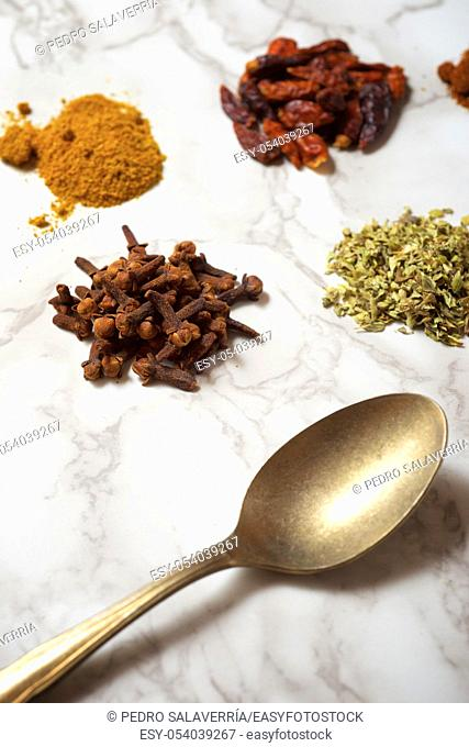 Spices on a marble table