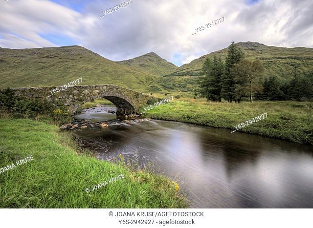 Glen Kinglas, Butter Bridge, Arrochar Alps, Cowal Peninsula, Argyll and Bute, Scotland, United Kingdom