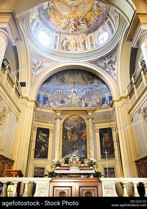 Fresco on the chapel by Niccolò Circignani called Pomarancio and the 5th-century AD Paleochristian mosaic in Santa Pudenziana Basilica - Rome, Italy