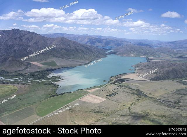 aerial, from a glider, of Benmore lake, shot in bright spring light from west, Canterbury, South Island, New Zealand