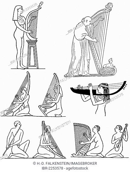 Historical drawing, musicians of antiquity, ancient Greek harps and flutes