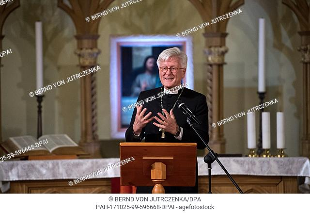 German federal president Frank-Walter Steinmeier holds a speech during a ceremony for the return of the St. Peter and Paul cathedral to the...