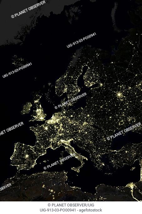 Europe At Night, True Colour Satellite Image. True colour satellite image of Europe at night. This image in Lambert Conformal Conic projection was compiled from...