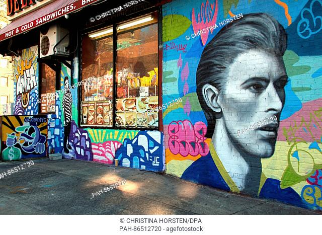 Graffiti of David Bowie pictured on the side of a building in Brooklyn/Williamsburg in New York, USA, 17 November 2016. David Bowie was born in London but saw...