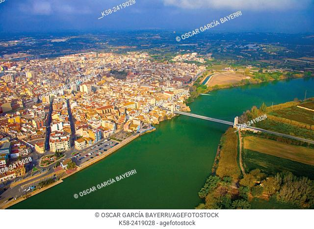 Aerial view of Amposta, Ebro River, Tarragona Province, Catalonia, Spain