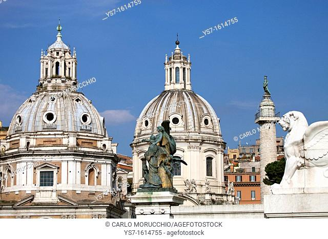Santa Maria di Loreto and SS. Nome di Maria churches and Trajan's Column seen from the Altar of the Fatherland, Rome, Lazio, Italy, Europe
