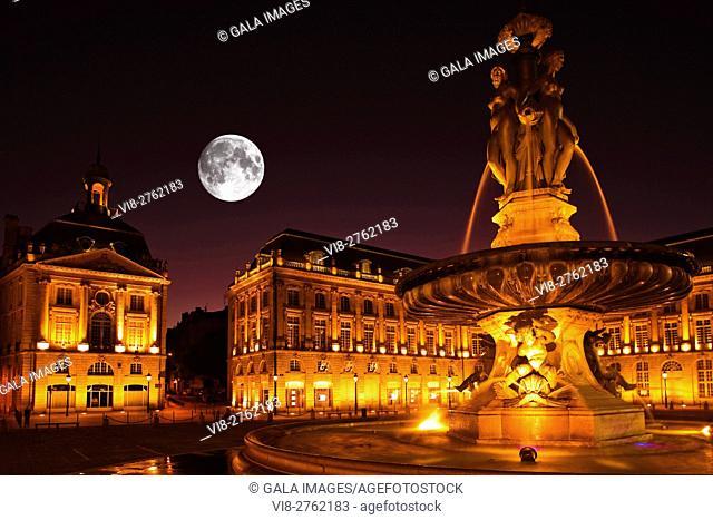 FOUNTAIN OF THE THREE GRACES PLACE DE LA BOURSE BORDEAUX GIRONDE AQUITANE FRANCE