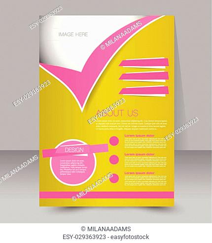 Flyer template. Business brochure. Editable A4 poster for design, education, presentation, website, magazine cover. Yellow and pink color