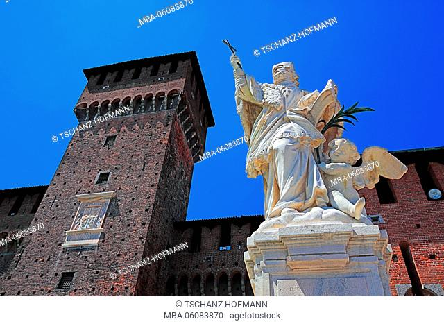 Italy, Milan (city), statue of Saint Giovanni Nepocedemo in the courtyard of Castello Sforzesco in front of the goal Corte Ducale