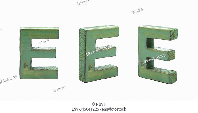 Single sawn wooden E letter symbol in different angles and foreshortenings isolated over the white background