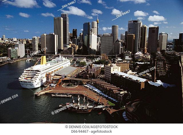 View from Harbour Bridge with luxury liner Oriana in port, Sydney. New South Wales, Australia