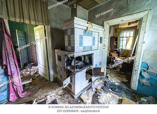 Interior of detached house in Pripyat ghost city of Chernobyl Nuclear Power Plant Zone of Alienation around nuclear reactor disaster in Ukraine