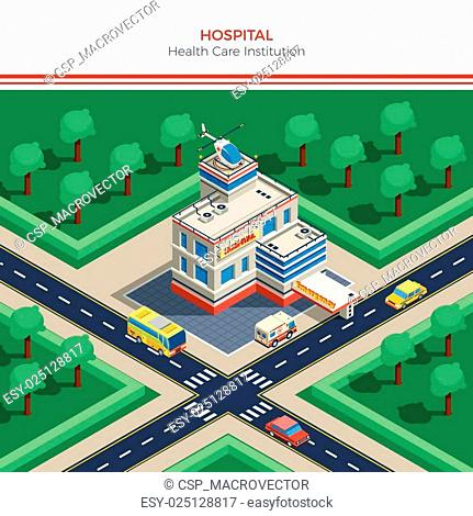 Isometric City Constructor With Hospital Building
