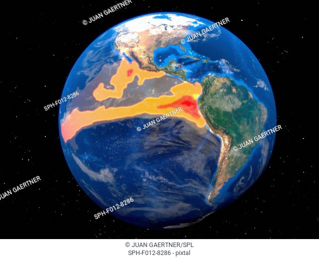 El Nino is the warm phase of the El Nino/La Nina Southern Oscillation (ENSO) that occurs across the tropical Pacific Ocean roughly every five years