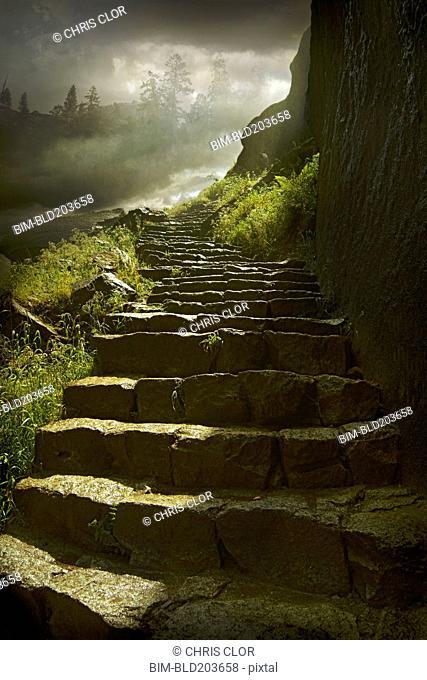 Stone steps on rural hillside