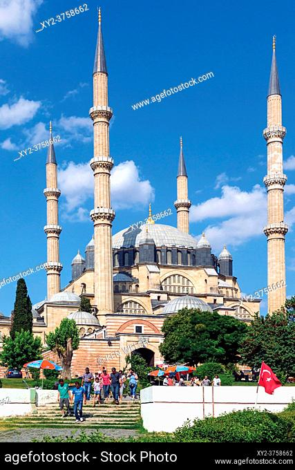 Edirne, Edirne Province, Turkey. The 16th century Selimiye Mosque by architect Mimar Sinan. Considered the greatest of the Ottoman mosques