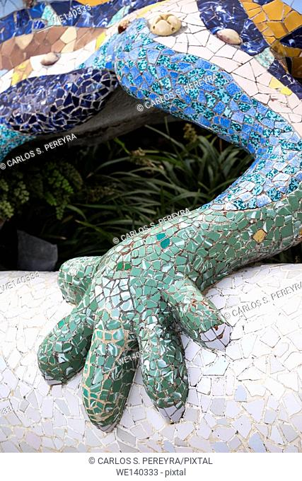 Detail of decoration of the dragon that guards the entrance to Park Güell (Gaudí, 1900-1914). Barcelona, Catalonia, Spain