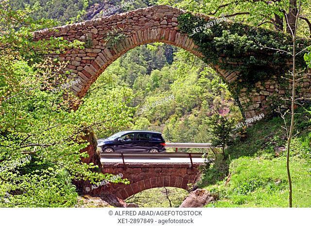 Roman bridge and road, Castellar de n'Hug, Catalonia, Spain