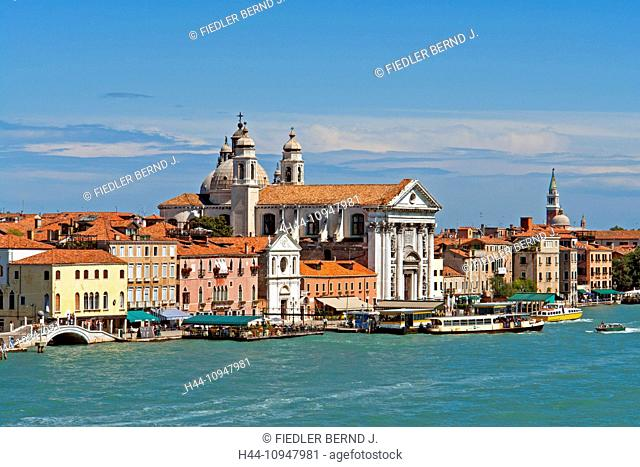 Europe, Italy, IT, Veneto, Venice, Fondamenta Zattere al Ponte Longo, promenade, church, Santa Maria de Rosario, passenger ferries, architecture, vehicles