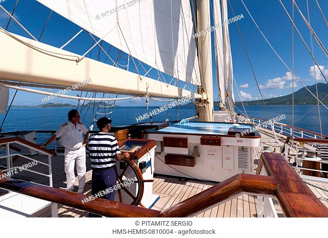 British West Indies, Saint Kitts and Nevis, Nevis, Star Clipper sailing cruise ship