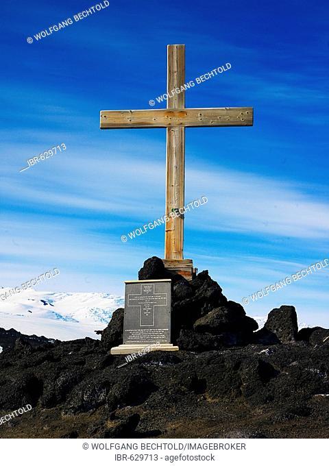 Memorial cross on Wind Vane Hill at Cape Evans on Ross Island, Antarctica
