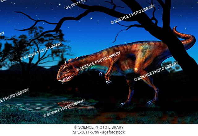 Majungatholus. Computer artwork of a Majungatholus dinosaur drinking from a pond at night. This carnivorous dinosaur lived 70 to 64 million years ago in what is...